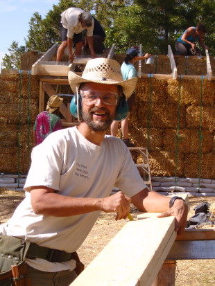 Steve on the natural building work site